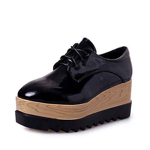 scarpe primavera e l'autunno crosta spessa con i tacchi alti/pendenza testa quadrata con una sola scarpa/bocca superficiale pizzo scarpe piattaforma impermeabile-A Lunghezza piede=24.3CM(9.6Inch)