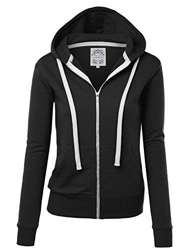 MBJ WSK954 Womens Active Fleece Zip Up Hoodie Sweater Jacket L BLACK