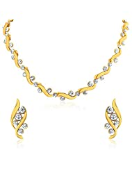 Oviya Gold Plated Bold Crystal Curves Necklace Set For Women NL2103026G