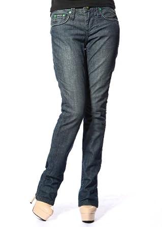 Stitch's Womens Comfort Straight Leg Jeans Curvy Distressed Denim Blue 25