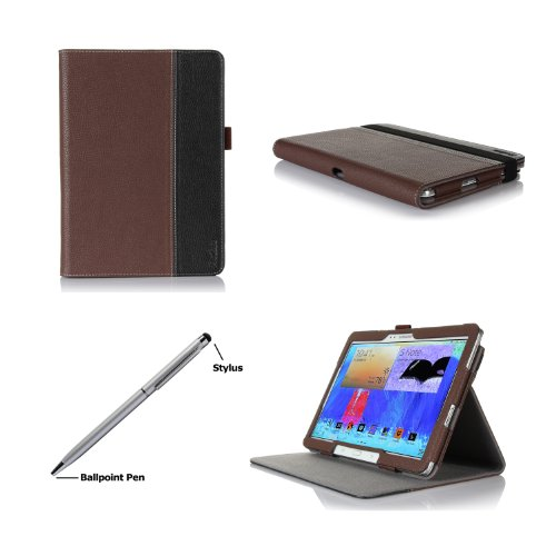 ProCase Premium Folio Case with Stand for Samsung Galaxy Tab PRO 10.1 Tablet 2014 (SM-T520) and Galaxy Note 10.1 2014 Edition Tablet (SM-P600), Built-in Stand with Multiple viewing Angles, bonus Stylus Pen included (Brown/Black) from Electronic-Readers.co