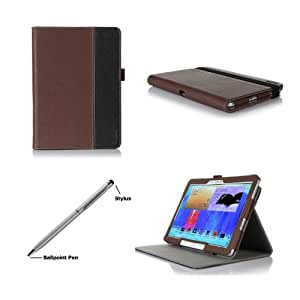 ProCase Premium Folio Case with Stand for Samsung Galaxy Tab PRO 10.1 Tablet 2014 (SM-T520) and Galaxy Note 10.1 2014 Edition Tablet (SM-P600), Built-in Stand with Multiple viewing Angles, bonus Stylus Pen included (Brown/Black)