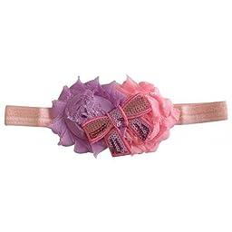 Needybee Baby Girls\' Soft Headband Embellished With Sequin Bow 0-5 Years Pink
