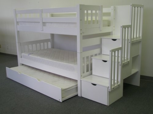 New Bedz King Twin Over Twin Stairway Bunk Bed with Twin Trundle White
