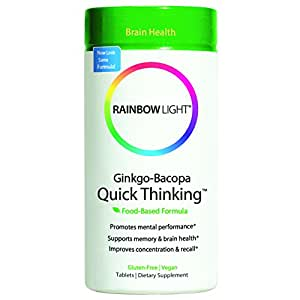 Rainbow Light Ginkgo-Bacopa Quick Thinking, Dietary Supplement Tablets, 60 tablets