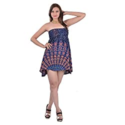 Indi Bargain Rayon Mandala Block Printed Tube Top or 2 in 1 dress - (IBLS006B)