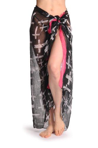 White Crosses, Stars With Bright Pink Stripe Unisex Scarf & Beach Sarong - Nero Sciarpa Taglia Unica - 110cm x 180cm