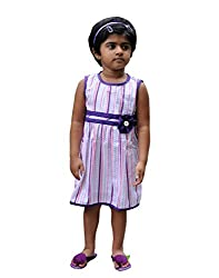 Snowflakes Girls' Casual Dress 5 - 6 Yrs (White with Pink and Purple Stripes)
