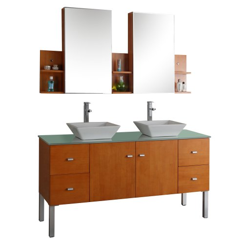 Virtu Usa Md-457-G-Ho Clarissa 61-Inch Wall-Mounted Double Sink Bathroom Vanity Set With Mirrored Cabinets, Tempered Glass Countertop, Honey Oak Finish front-971619