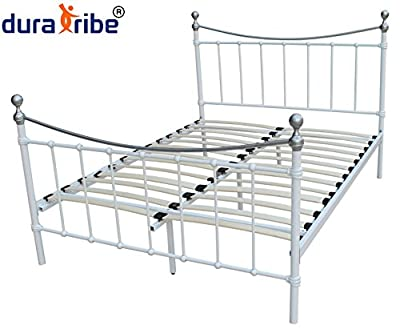 Alderley Plus Metal Bed Frame in Ivory (Off White) Colour with Chrome Finals - Double Size (4.6 FT) - Improved Design and Excellent Quality