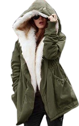 CRAVOG Women's Thicken Fleece Faux Fur Warm Winter Coat Hood Parka Ourwear Jacket