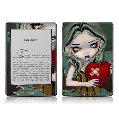Broken Heart Design Protective Decal Skin Sticker - High Gloss Coating For Amazon Kindle 4 (5-Way Controller - 4Th Gen / Release In Oct 2010)