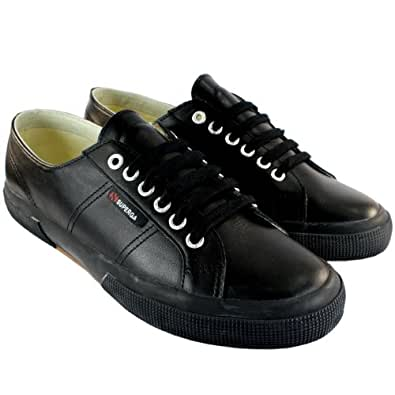 herren schuhe classic superga 2750 leder tennis schuh plimsoll trainers schwarz 47 amazon. Black Bedroom Furniture Sets. Home Design Ideas