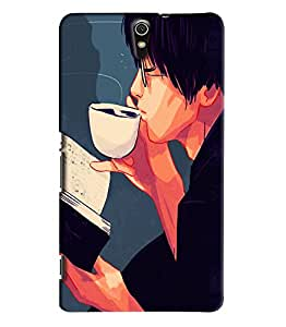 Blue Throat Boy Drinking Coffee Printed Designer Back Cover/ Case For Sony Xperia C5