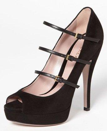 Gucci Lisbeth Black Suede Leather Pump