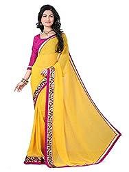 Meera Trendz Women's Georgette Saree(YELLOWPRINT_Yellow)