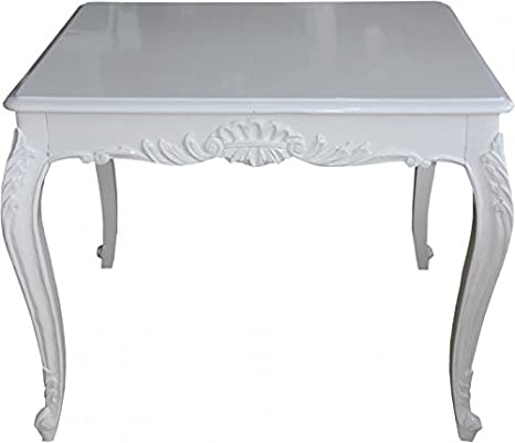 Casa Padrino Baroque Dining Table White 100 cm x 100 cm- Dining Table - Antique Style Furniture
