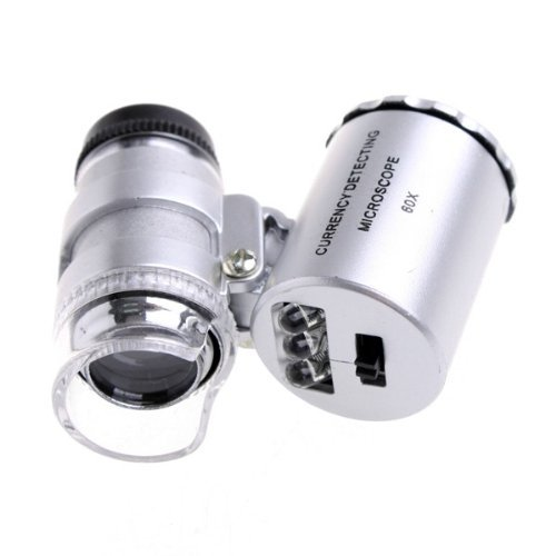 Kingzer Mini 60X Pocket Jewelry Loupe Lighted Magnifier Microscope With Led Currency Uv
