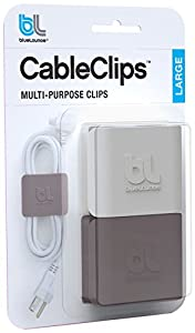 Bluelounge CableClips Large - Cable Management System - Grey & White