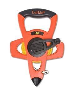 "Lufkin FE050D 1/2""x50' Engineer's Hi-Viz Orange Fiberglass Tape, 10ths"