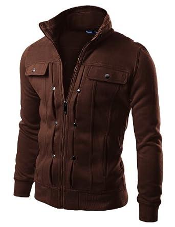 Doublju Mens Highneck Zip Up Jacket KHAKI (EU-S)
