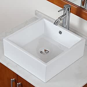 ELITE Bathroom Square White Ceramic Porcelain Vessel Sink
