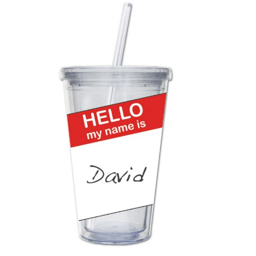 Hello My Name Is Writeable 17 Oz. Insulated Cup With Straw front-39155