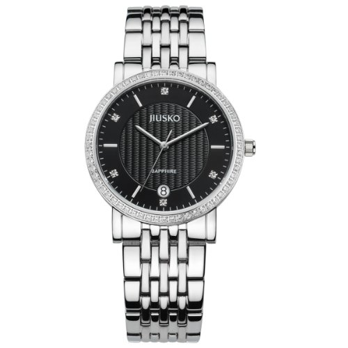 Jiusko Luxury Stainless Steel With Diamond Bezel Black Dial Unisex Dress Watch 125Ms02