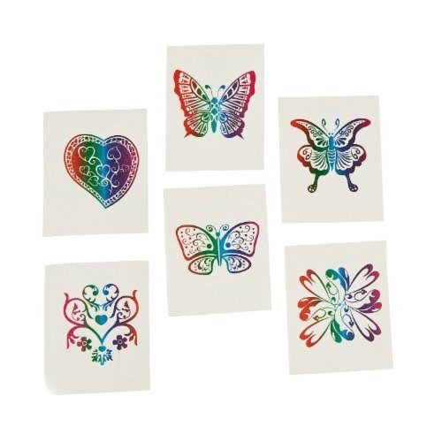 72 Rainbow Glitter Temporary Tattoos / Party Favors - 1