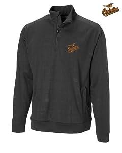 Baltimore Orioles Mens DryTec Kingsgate Embossed Half Zip Black by Cutter & Buck