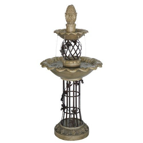Welland Two Tiered Outdoor Water Fountain, 53-Inch High