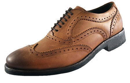 Da uomo base London Hyde brunito in pelle Oxford Brogue Smart scarpe, Marrone