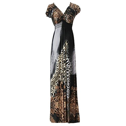 Women Ladies Printed Deep V-Neck S Boho Beach Long Maxi Dress Size L - Grey