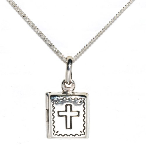 Sterling Silver Bible Locket with Cross and Border Detail 46cm Chain