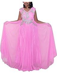 Dream Girls Boutique Women's Net Anarkali (Baby Pink, XL)