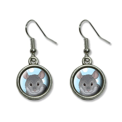 Chinchilla - Cute Pet Novelty Dangling Dangle Drop Charm Earrings
