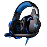 Simpeak 3.5mm Wired Stereo PC Headset Over Ear Headphones with Microphone and LED Light  - Black and Blue
