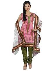 Idha Pink Straight Fit Chanderi Silk Salwar Suit For Women - B00XUC7XJG