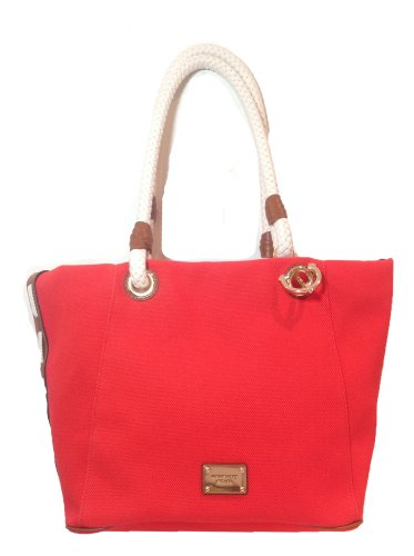 Michael Kors 'Marina' Large Canvas Grab Bag W Anchor Detail, Mandarin