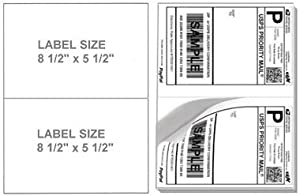 200 Half Sheet Shipping Labels, (2) - 8 1/2 X 5 1/2 Labels Per Sheet. Will Work in Both Laser and Inkjet Printers. Made of Heavyweight Material with Super Adhesive Sticker. For Use with Internet Postage Sites Like Ebay, Paypal. Stamps.com Ext... Same Size As the Avery® 5126 Template