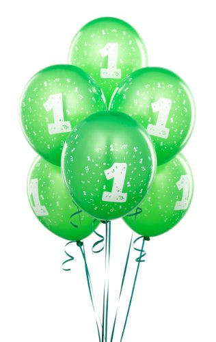 Lime Green #1 Balloons (6 count) - 1