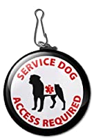 Black SERVICE DOG ACCESS REQUIRED Medical Alert Symbol 2.25 inch Clip Tag from Creative Clam