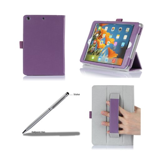 ProCase Apple iPad mini with Retina Display Case with bonus stylus pen - Flip Stand Leather Folio Cover for iPad mini 2 (2013) and iPad mini (2012), with Smart Cover Auto Sleep/Wake (Purple) - 1