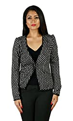 JAMES SCOT-Full Sleeves Polkha Dots Black Colour Woolen Winter Wear Short Coat For Womens