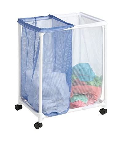 Honey-Can-Do 2 Bag Mesh Laundry Sorter, White/Blue