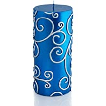 Zest Candle Pillar Candles, 3 By 6-Inch, Blue Scroll By Zest Candle