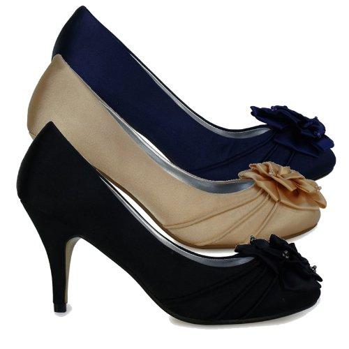 L3B Womens Black Satin Flower Ruffle Mid Heel