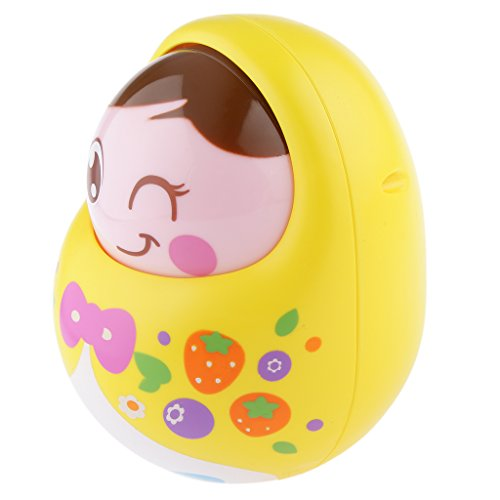 Magideal Kids Baby Tumbler Dolls With Bell Nodding Doll Early Educational Toys Yellow