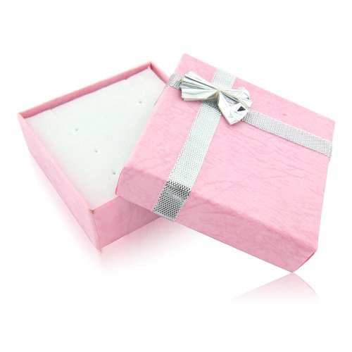 Pink jewellery gift box - Ideal for necklace and / or upto 6 pairs of stud earrings - 5.9cm by 5.9cm by 2cm deep -completed with silver foiled bow