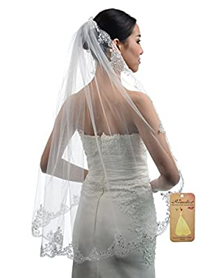 Topwedding Ivory 1 Tier Tulle Bridal Wedding Veil with Sequined Lace Hem